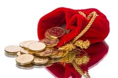 Beutel mit Münzen Stockfoto