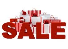 Beutel und Kästen mit einem Wort Verkauf stock abbildung