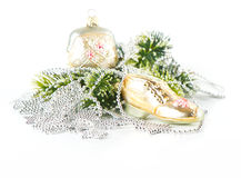 Beutel und Schuh als Weihnachtsbaumdekoration lizenzfreies stockbild