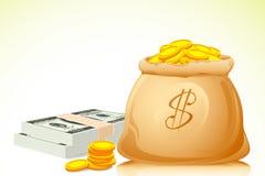 Beutel voll der Münze und der Banknote Stockfoto
