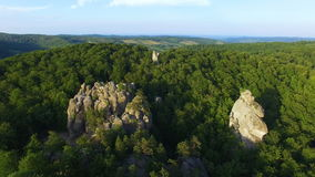 Beutiful aerial view of cliff in Karpatian mountains. Fly around. 4K stock footage