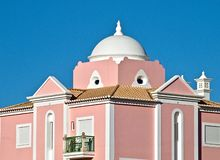 Beutiful architecture in Portugal, house with a pink facade stock photos
