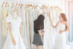 An beutiful Asian woman fitting and comparing the wedding dress stock photography