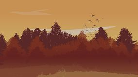 Beutiful Autumn Landscape Background with Autumn Colored Pine Tree Forest and Ascending Birds. Vector Illustration. Beutiful Autumn Landscape Background with vector illustration