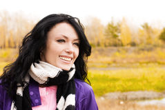 Beutiful brunette woman outdoor Royalty Free Stock Photography
