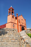 Beutiful church in Huatulco Mexico. La Crucecita, Bahias De Huatulco, Oaxaca State, Mexico; Low Angle View Of Guadalupe Virgin Church Stock Image