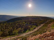 Beutiful day at top of the highest mountain neer lebanon stock photos