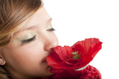 Beutiful girl with flower Royalty Free Stock Images