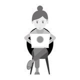 Beutiful girl using laptop sitting monochromatic Stock Photography