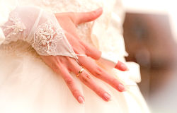 Beutiful hand of fiancee Royalty Free Stock Images