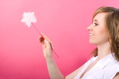 Beutiful and happy fairy with wand Stock Image