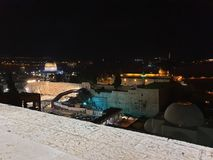 Beutiful night on rooftop in Jerusalem stock photography
