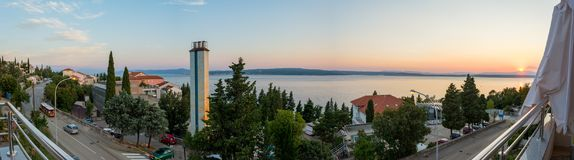 Beutiful panoramic view at the crikvenica coast with a sunset. Royalty Free Stock Image
