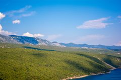 Beutiful Panoramic View at Krk, Croatia with the Adriatic Sea. Beutiful landscape with mountains. Stock Image