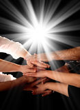 A beutiful picture of hands. A beutiful picture of teamwork and friendship Stock Photo
