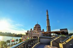The beutiful  of Putra Mosque in Putrajaya, Malaysia. Putrajaya is  the government city centre of Malaysia. The Putra Mosque is the principal mosque of Stock Images