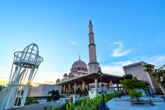 The beutiful  of Putra Mosque in Putrajaya, Malaysia. Putrajaya is  the government city centre of Malaysia. The Putra Mosque is the principal mosque of Royalty Free Stock Photo