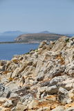 Beutiful rocky coast in Levitha. Beautiful roacky cost in Levitha, Greece, with sea and islands in background Royalty Free Stock Photo