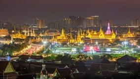 Beutiful scene of Wat Phra Kaew at dusk. Beutiful scene of Wat Phra Kaew , Royal grand palace, an important landmark of Bangkok at dusk with worm and magenta Stock Images