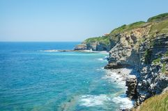 Beutiful seacost at France. With waves at the summer Stock Photo