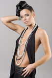 Beutiful and sensual girl with necklace Royalty Free Stock Photo