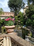 BEUTIFUL Spring garden of the famous Italian Castle stock photography