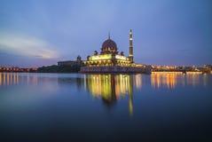 Beutiful Sunrise at Putra Mosque, Putrajaya with perfect reflect stock photos