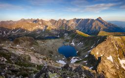 Beutiful Tatras nature summer landcape with mountain and lake.  Royalty Free Stock Images