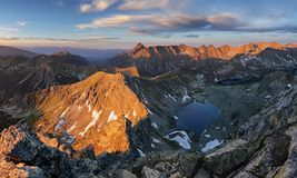 Beutiful Tatras nature summer landcape with mountain and lake.  Stock Images