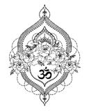 Beutiful Vector Illustation With Peony, Mendi Style Deoration And Symbol `om` Stock Photo