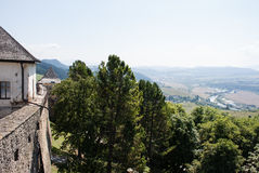 Beutiful view from castle tower of valley. Second Royalty Free Stock Photo