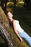 Beutiful woman. In green park Stock Photography