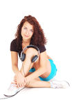 Beutiful woman with headphones Royalty Free Stock Photography