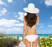 Beutiful woman posing in white bikini Royalty Free Stock Image