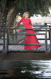 Beutiful woman in red dress, wooden bridge Stock Photos