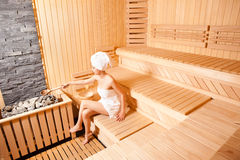 Beutiful Woman In Sauna Royalty Free Stock Photography