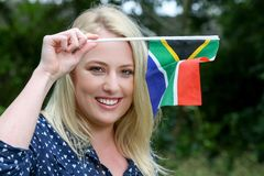 Beutiful Woman with South African Flag Royalty Free Stock Images
