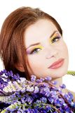 Beutiful young woman with colorful makeup Royalty Free Stock Image