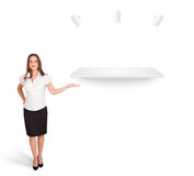 Beutiful young woman presenting modern copy space Stock Photos