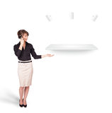 Beutiful young woman presenting modern copy space Royalty Free Stock Photography