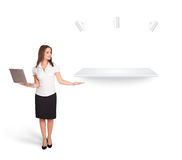 Beutiful young woman presenting modern copy space Stock Image