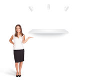 Beutiful young woman presenting modern copy space Stock Photo