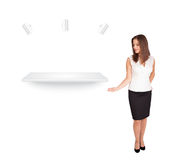 Beutiful young woman presenting modern copy space Stock Photography