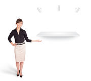 Beutiful young woman presenting modern copy space Royalty Free Stock Photos