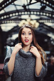 Beutiful young woman with surprised expression. Waist up Stock Images
