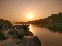 Sunset in yoga city Rishikesh India stock images