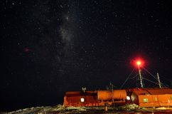 Antartica base, Argentina. Beutifull night in antartica base, Marambio. Via Lactea. could weather, amazing experience Royalty Free Stock Photography