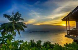 Beutifull-Sonnenuntergang von Batam-Insel Indonesien lizenzfreies stockbild