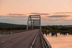 Beutifull sunset at a bridge stock photo