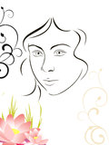 Beuty face. Vector illustration of a face and floral elements Royalty Free Stock Images